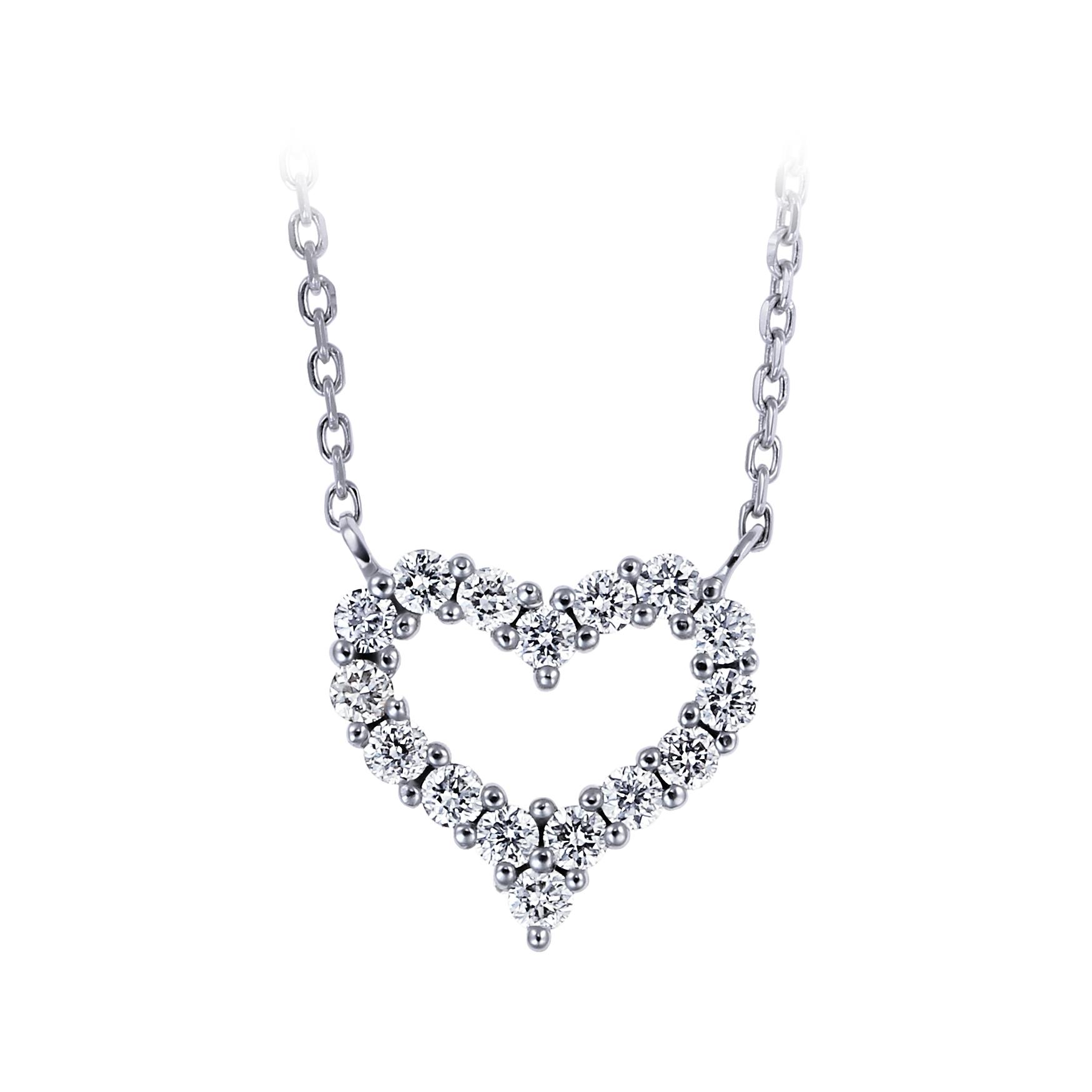 愛心鑽石項鍊