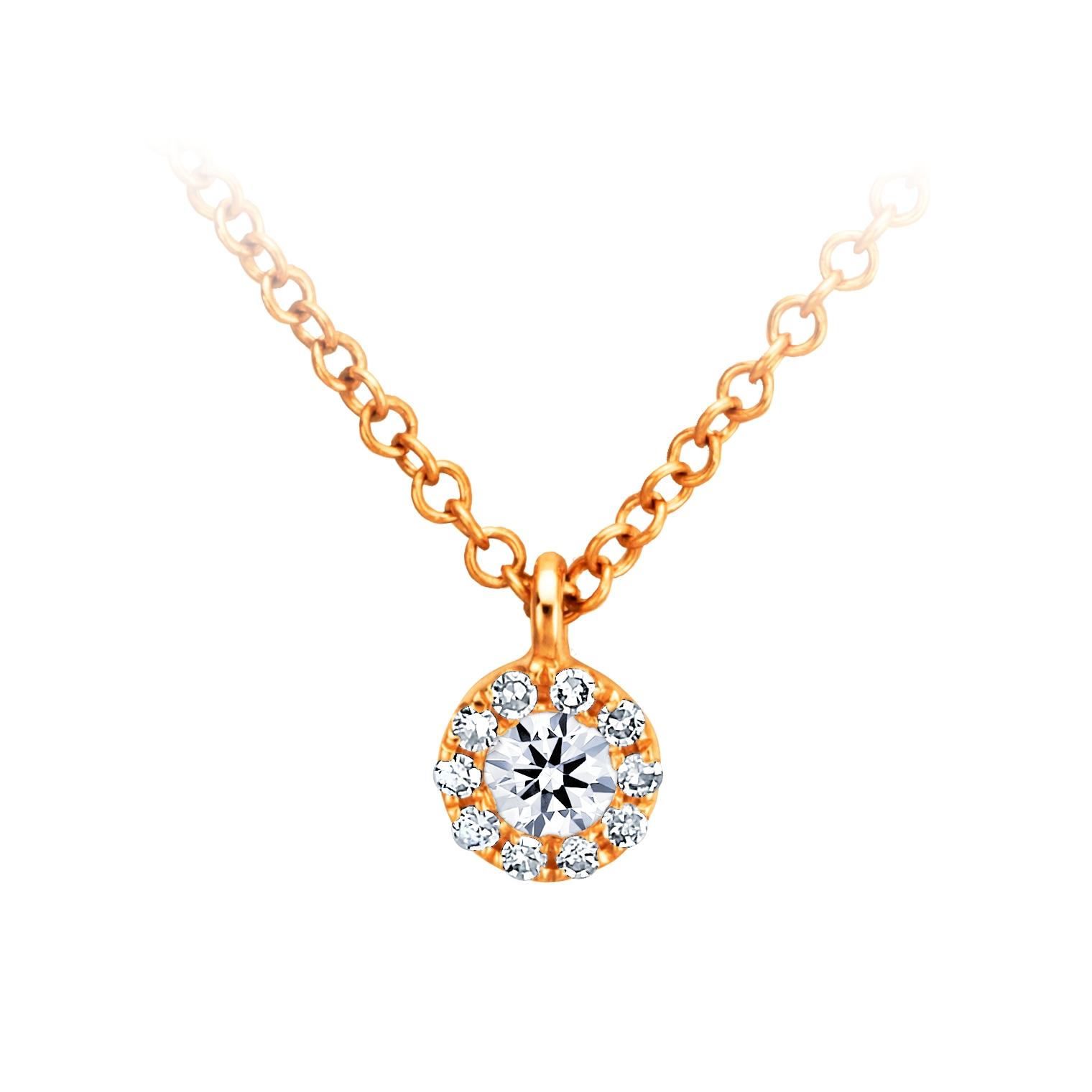 玫瑰K金鑽石項鍊