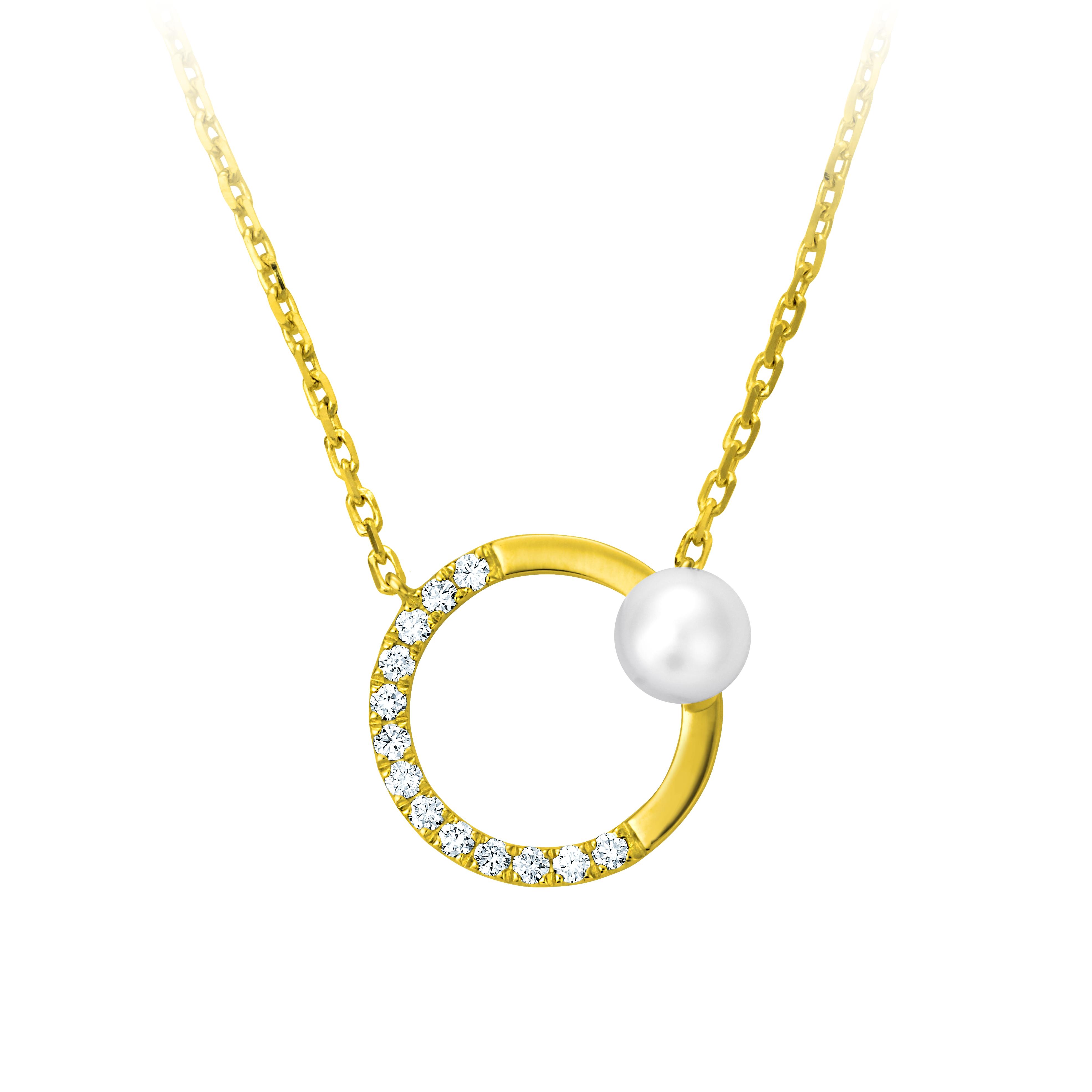 黃K金珍珠鑲鑽項鍊