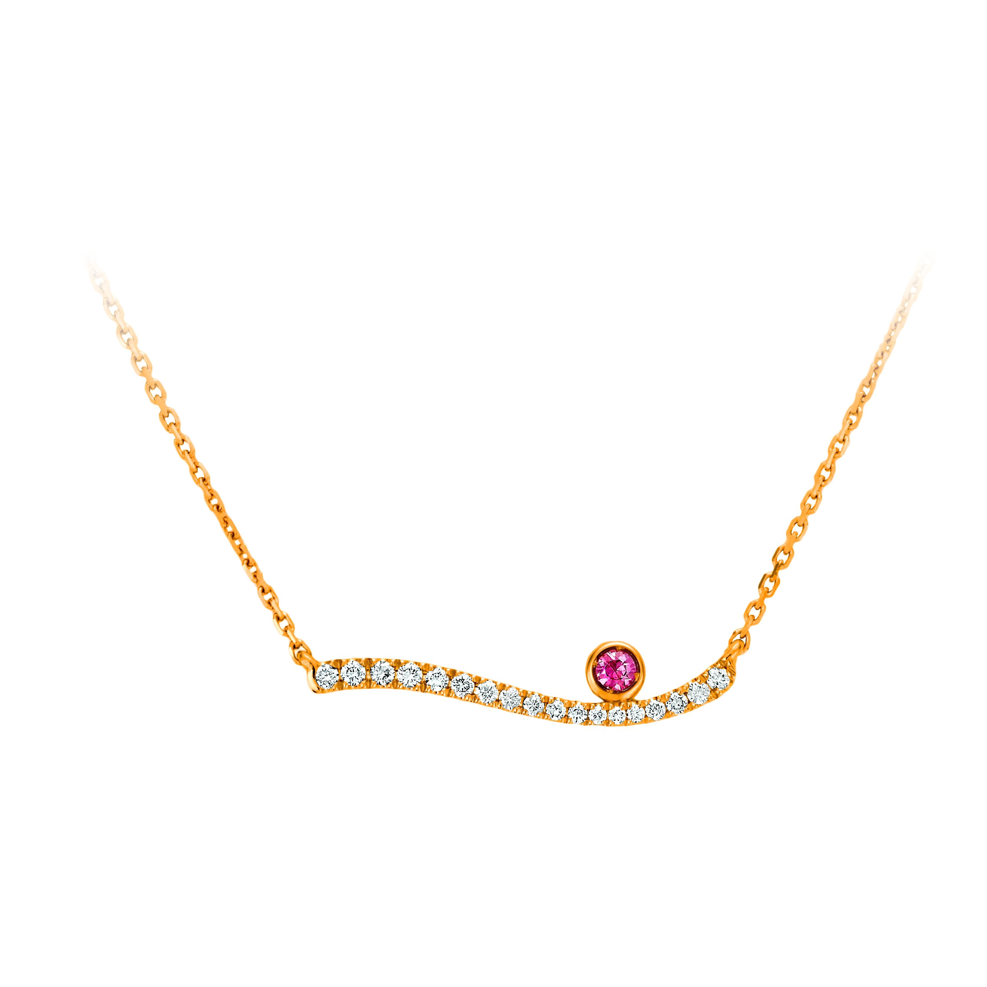 鑽石粉色剛玉項鍊