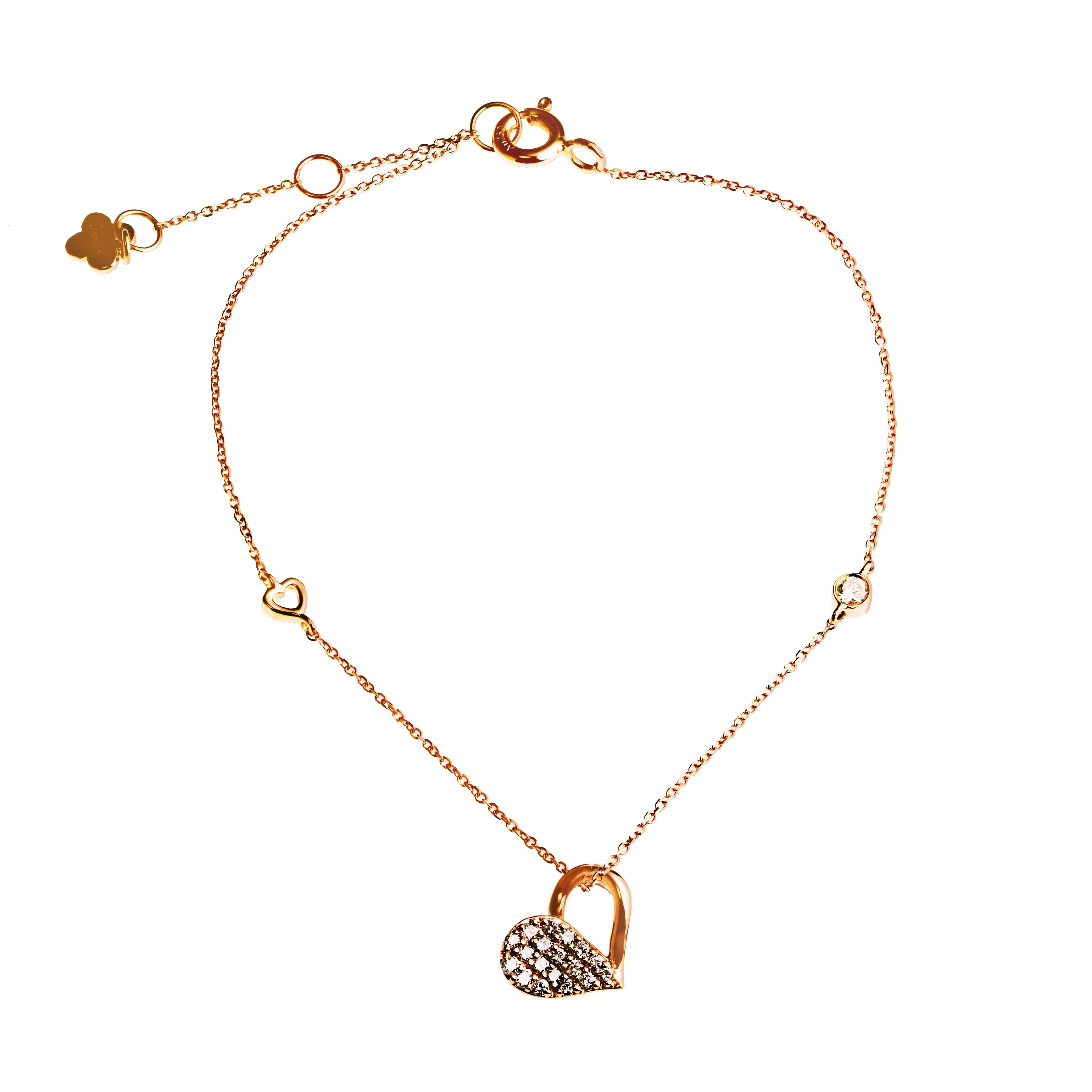玫瑰金愛心鑽石手鍊