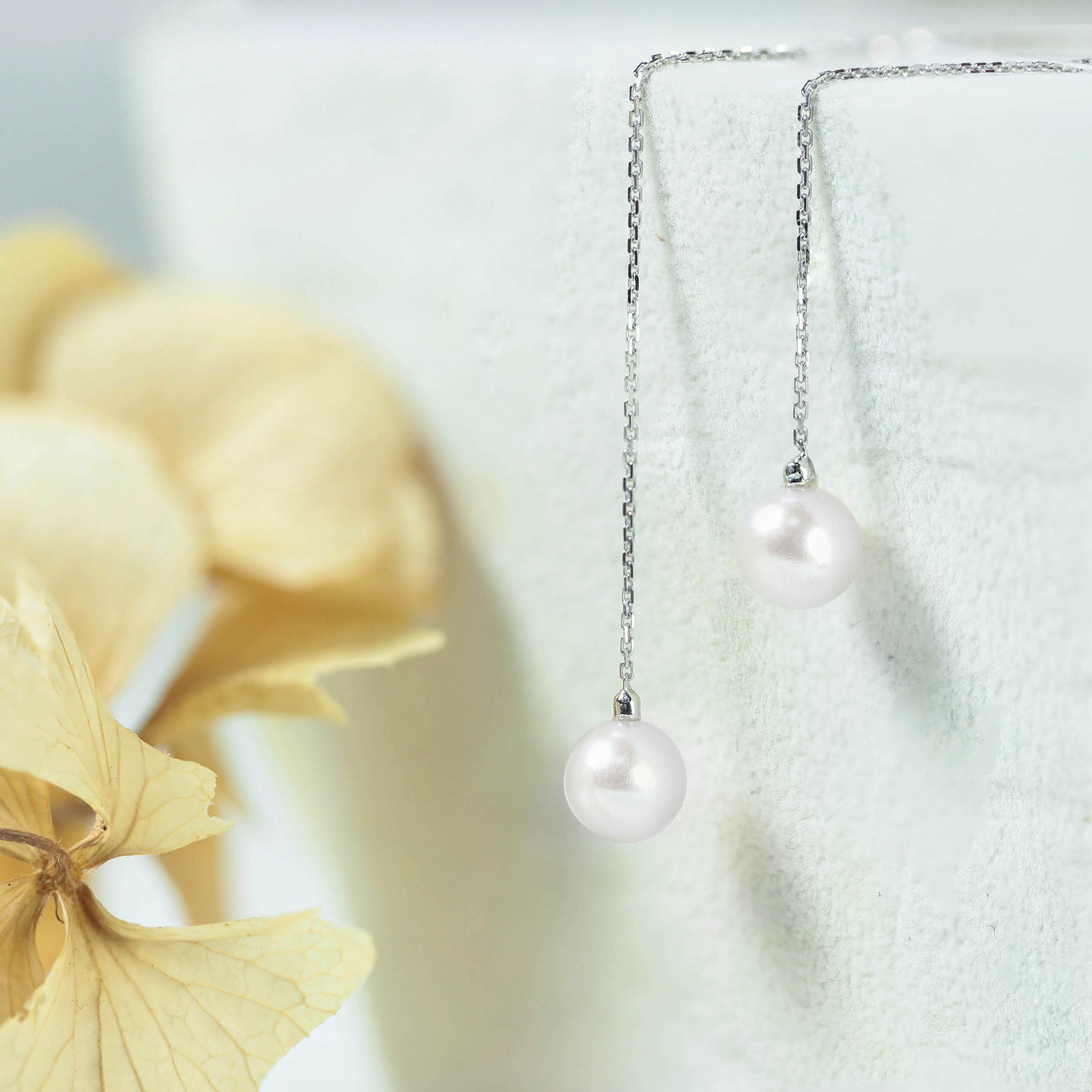 5mm白色珍珠耳環